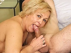 BBW grandma rides on top of her lover\'s big erection