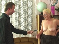 The mature slut has a wrinkled old pussy but it still gets wet for rock hard young cock