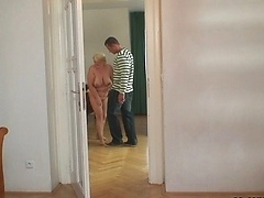 She sucks her son in law and then he bends her over and pounds that dripping wet pussy