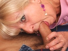 Her son in law does a few shots with the old babe and then he fucks her steaming pussy