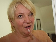 The mature pussy is eager for his young cock so she gives him head before the good sex
