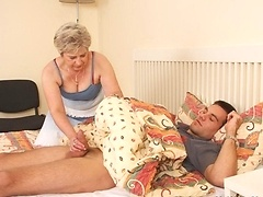 His mother in law sucks his cock and he has to fuck her when he finds out about it