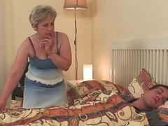The granny gets fucked by her daughter's husband and his big cock brings much pleasure