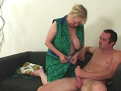 His wife doesn't give him the pussy he needs so his mother in law takes him inside
