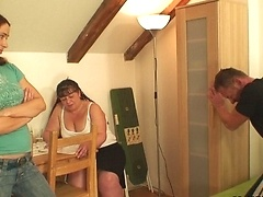 Fatty is mature and horny and she gets a good hammering from his big fat young cock