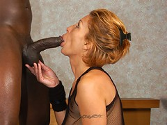 Super sexy senior citizen slut gets her pussy stretched open with big black dick!