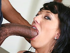 Stacked brunette takes some huge black dick