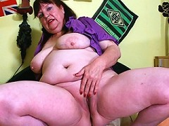 Naughty chubby mature slut playing with her pussy